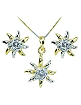 WomanWa Dual Tone Flower Shaped Earrings With Matching Pendant