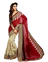 Kalista Faux Georgette Saree in White Red Colour for Party Wear