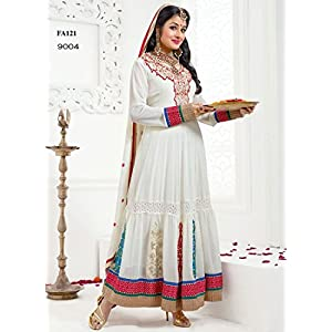 Semi Stitched White And Red Semi Georgette Anarkali Suit
