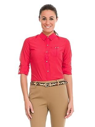 Cortefiel Camisa Algodón/Seda Lisa (Rojo)