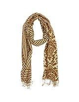 FUGEN Women's Cotton Scarf (FF-2028, Mehendi)