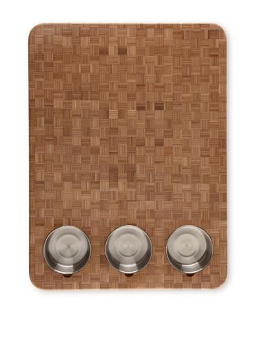 Totally Bamboo 3-Bowl Butcher Block Prep Board, 16.5