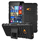DEFENDER Hard Armor Hybrid Rubber Bumper Flip Stand Rugged Back Case Cover For MICROSOFT LUMIA 535 Dual Sim - Black