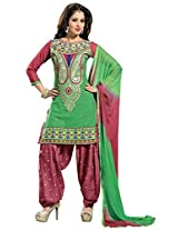 Vibes Women Georgette Salwar Suit Dress Material (V183-7 _Green _Free Size)