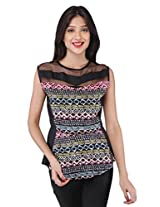 Purys Women's Printed Top (E-160738SP-3001_Black Pink_XL)