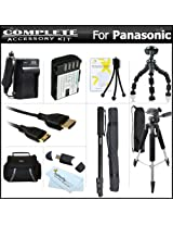 Complete Accessory Kit For Panasonic Lumix DMC-GH3K DMC-GH3 DMC-GH4 DMC-GH4K Mirrorless Micro Four Thirds Digital Camera Includes Extended (2100mAh) Replacement DMW-BLF19E Battery + Ac/Dc Charger + Case + Mini HDMI Cable + 57 Tripod + 67 Monopod +More