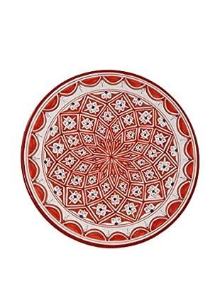 Le Souk Ceramique Nejma Round Platter, Red/White