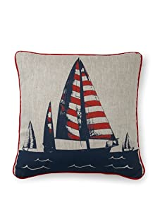 Room Service Summer Sailing Pillow (Red/Blue/Oatmeal)
