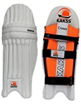 KAKSS Men's Soft Leather Batting Pads (Size: Men, White & Orange)