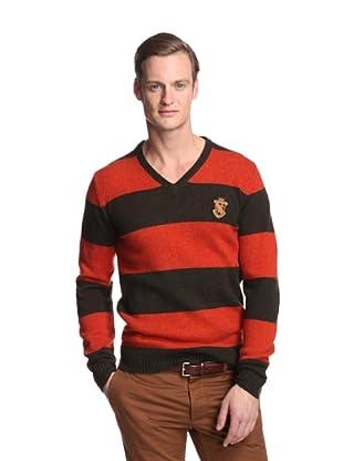 Façonnable Tailored Denim Men's Multi Striped V-Neck Sweater (Orange Multi)