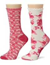 Betsey Johnson Women's 2 Pair Pack Punk Rock Love Crew Socks In Gift Box, Cream Multi, One Size
