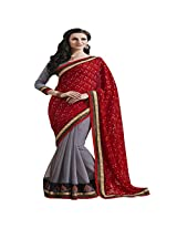 Shaktideal Fabulous Red Half and Half Saree