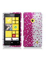 Aimo NK521PCLDI685 Dazzling Diamond Bling Case for Nokia Lumia 521 - Retail Packaging - Layer Hot Pink