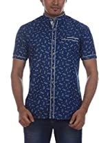 Fashionbean Men's Casual Shirt (CS1300_XXL, INDIGO, XXL)