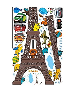 Ambiance Sticker Wandtattoo Eiffel Tower Kidmeter With Planes And Funny Animals