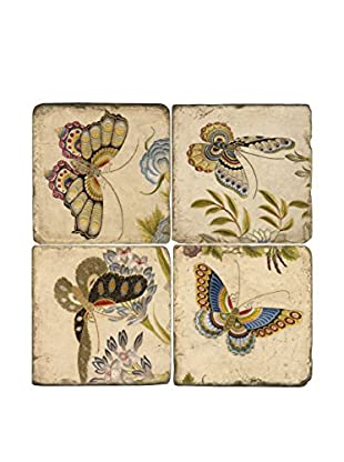 Studio Vertu Set of 4 Butterfly III Tumbled Marble Coasters with Stand