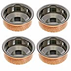 Tableware Set of 4 Copper Serving Bowls for Indian Dishes