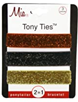 Mia Tony Hair Ties Glitter, Orange, Brown, Gold