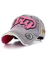 Ililily Men's Distressed Vintage Denim Dry Baseball Leather Snapback Trucker Hat Gray AD