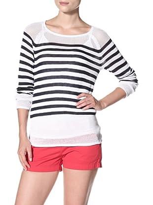 525 America Women's Stripe with Mesh Top (White Combo)