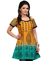 Long Indian Tunic Top Tunic Print Womens Poly Cotton Clothes (Orange, L)