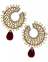 The Jewelbox Filigree Chaand Gold Plated Garnet Maroon Drop Earring for Women