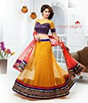 Designer Partywear Yellow & Red Colour Soft Net Lehenga Choli.