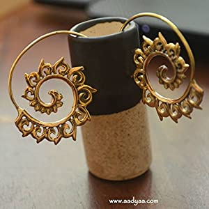 Desi Soul Brass Spiral Rangoli Earring