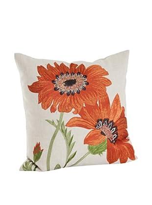Saro Lifestyle Embroidered Orange Flower Pillow