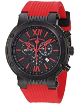 Swiss Legend Men's 10006-BB-01-RD Legato Cirque Chronograph Black Textured Dial Red Silicone Watch