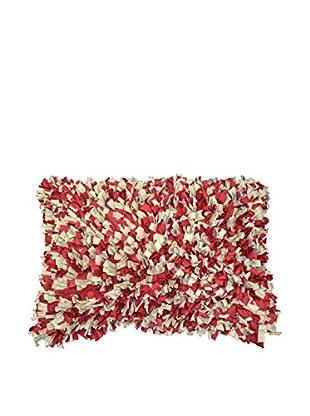 Cloud 9 Shag Lumbar Pillow, Red/Beige