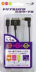 トリプル USB 充電ケーブル