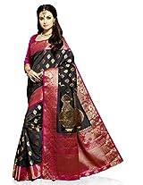 Meghdoot Artificial Silk Saree (VIVAAH_MT1248_BLACKxRANI Woven Black and Pink Colour Sari)