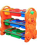 Happy Kids Colourful and Durable Toy Rack with Baskets