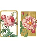 Entertaining with Caspari Double Deck of Bridge Playing Cards, Roses, Set of 2