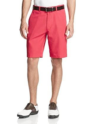 PGA Tour Men's Flat Front Seersucker Gingham Short (Poppy Red)