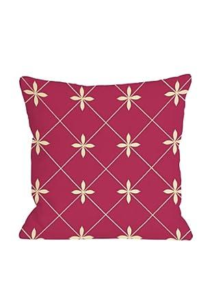 One Bella Casa Crisscross Flowers 18x18 Outdoor Throw Pillow (Pink)