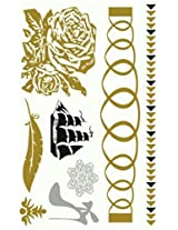 Metallic Gold Silver Black Jewelry Inspired Temporary Bling Tattoo by Eufouria Inc. YW-011