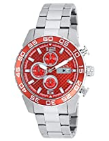 Invicta Men's Quartz Watch with Red Dial Chronograph Display and Silver Stainless Steel Bracelet 21567