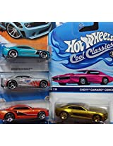 Hot Wheels Detailed Diecast Chevrolet Camaro Set: Cool Ones Series #5/30 Bronze Real Riders Concept, Silver 10 Ss Indianapolis 500 Pace Car, Deep Aqua Concept Including The Metallic Orange Concept Sittin On Pr5s {4 Pieces} 1/64 Scale Collection.