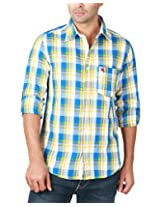 REIGN OF FASHION Men's Casual Shirt (500032, Bluish White Checks, 3X-Large)