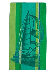 "Arkhipelagos Sailboat Beach Towel, Green, 39"" x 73"""