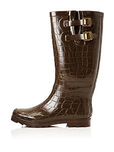 Chooka Women's Crocodilia Rain Boot (Chocolate)