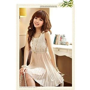 Women's Flower Lace Splicing Chiffon Pleated Sleeveless Mini Dress