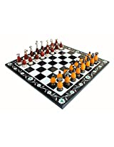 "15""x15"" Collectible Marble Pietra Dura Chess Board Game Set Wooden Brass Crafted Pieces"