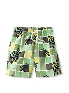 Azul Swimwear Boy's Turtle Grid Boardshorts (Green)