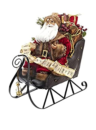 Kurt Adler Santa on Metal Sleigh Statue