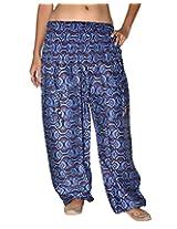 Famacart Women Pocket Printed Harem Pant Free Size blue