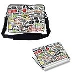 Meffort Inc 15 15.6 inch Laptop Carrying Sleeve Bag Case with Hidden Handle & Adjustable Shoulder Strap with Matching Skin Sticker Deal - Clip Word Design