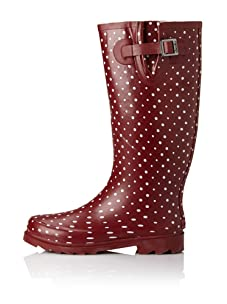 Chooka Women's Posh Dots Rain Boot (Berry)
